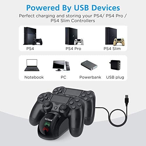 PS4 Controller Charger, YAEYE USB Charger Charging Docking Station Stand for Playstation 4 PS4/PS4 Slim/PS4 Pro Controller, Black