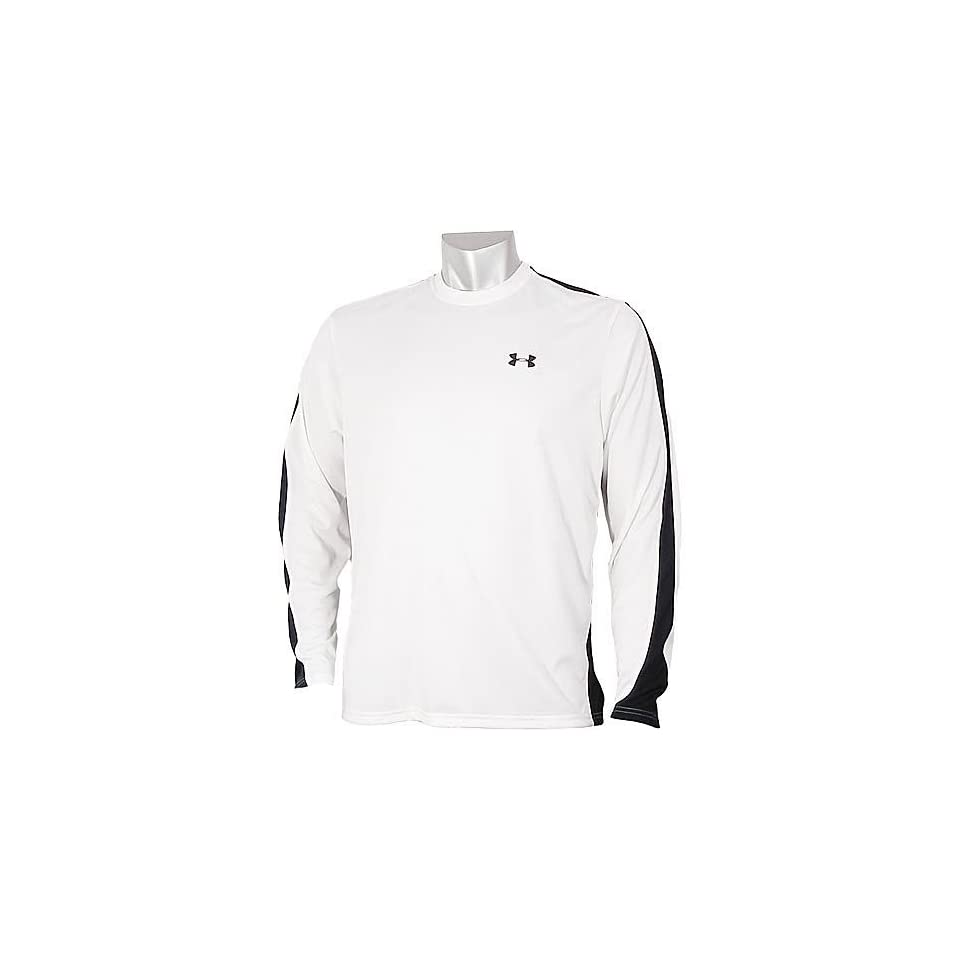 Under Armour Mens HeatGear Zone Long Sleeve Shirt Color White/Black Size S