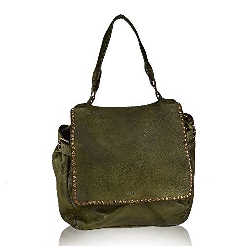 Borsa Tracolla Spalla Donna A In Vintage Verde Mainapps Made Pelle Italy Vera 5qHrqExnw