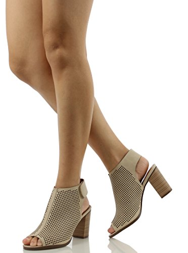 Peep Toe Ankle Strap Sandal Western Bootie Low Stacked Heel Open Toe Cutout Velcro Casual by J Adams Shoes