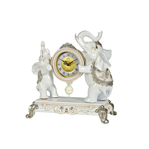 ZAZAZA Health UK Clock- Clock 3D Modeling Ivory White Color Resin Elephant Swing Pastoral Romantic Mute Classical Sitting Bell Welcome (Color : Ivory white) by ZAZAZA