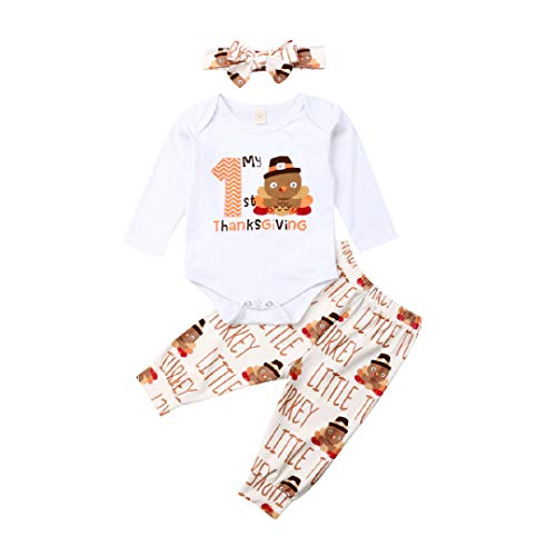 My First Halloween Baby T Shirt (Toddler Infant Baby Girl Boy Thanksgiving Outfit My First Thanksgiving Romper Bodysuit Turkey Long Pants Headband Set (White, 18-24)
