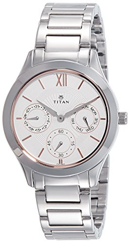 Titan Women's Contemporary Chronograph, Multi Function, Work Wear,Gold, Silver Metal, Leather Strap, Mineral Crystal, Quartz, Analog, Water Resistant Wrist Watch