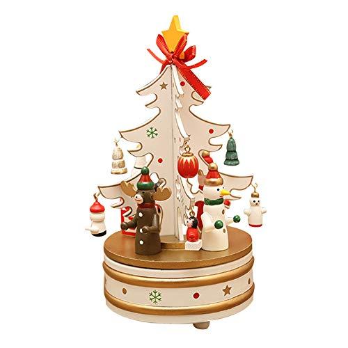 Santa Claus Music Box (Christmas Tree Santa Claus Roating Music Box, Wooden Carousel Music Box Gift Decoration)