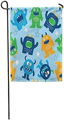 Amazoncom Semtomn Garden Flag Blue Dinosaur Monster Pattern