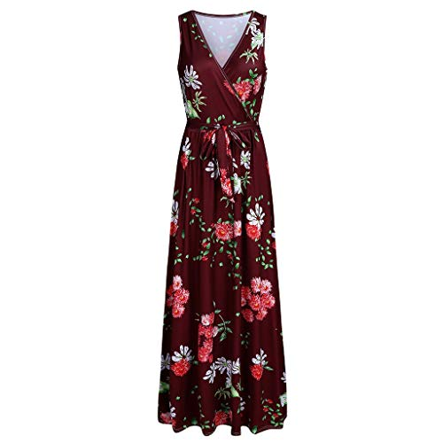 Copercn Women's Ladies Classical Falling Flower Pattern V-Neck Sleeveless Self-tie Waist Band Slim Maxi Dresses Swing Long Dresses Summer Refreshing Elegant Beach Dresses]()