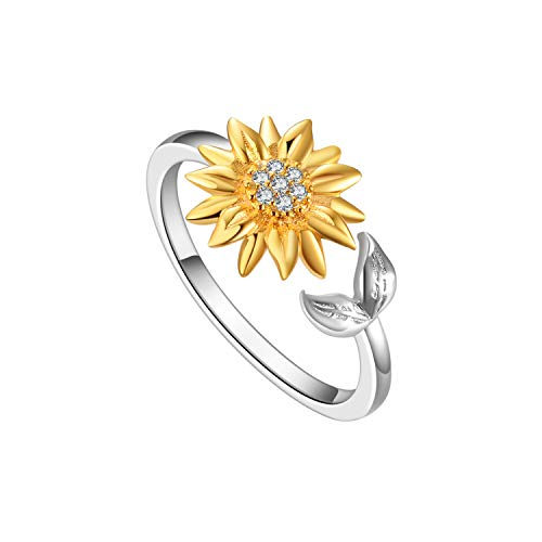 POPLYKE You are My Sunshine Sterling Silver Sunflower Adjustable Rings for Women Girls Summer Jewelwry