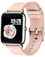 Popglory Smartklocka, fitnessmätare av blod syre, blodtryck, hjärtfrekvensmätare, IP67 vattentät Smartwatch fitnessklocka smartklocka för män kvinnor för Android iOS