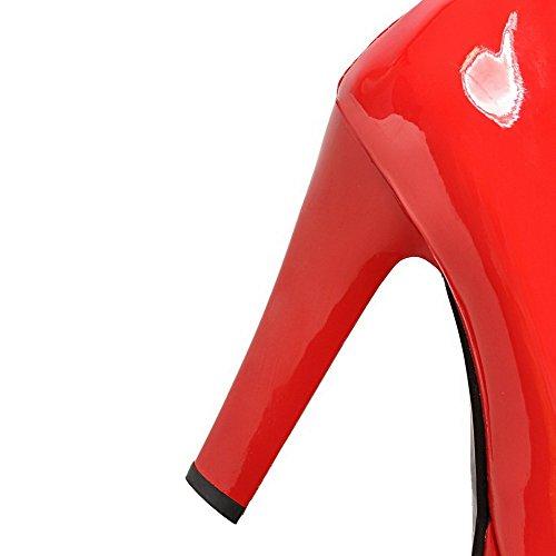 Pelle Punta di Donna VogueZone009 Puro Rosso Ballerine Tonda Fibbia Alto Tacco Maiale qwUnHT