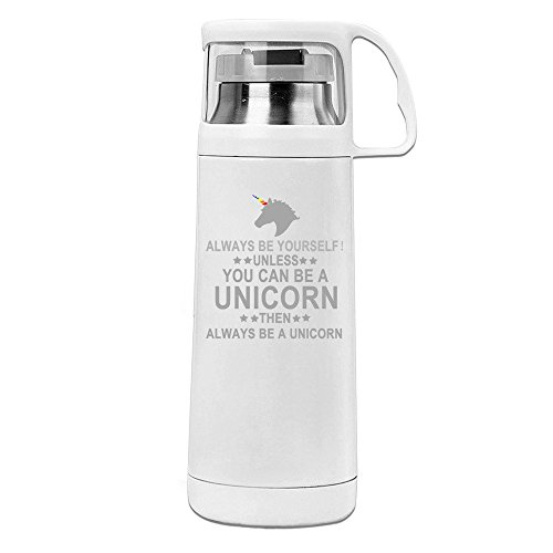 MeiXue Always Be Yourself Unless You Can Be A Unicorn Vacuum Cup Water Bottle White (Unicorn Water Bottle compare prices)