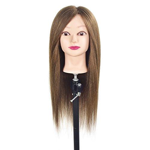 Cabeza de maniqui con pelo humano autentico 80%, para aprendizaje de peluqueria con pelo, pinza para mesa incluida, 55,9cm