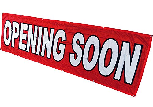 4Less 3x10 Ft Opening Soon Banner Vinyl Alternative Store Sign (red) Fabric