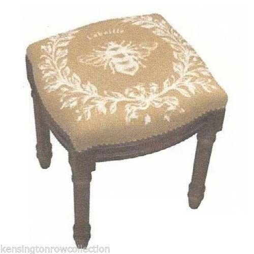 STOOLS - BEE UPHOLSTERED STOOL - VANITY SEAT - BEIGE LINEN SEAT (Kensington Bedroom Collection)
