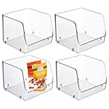 """mDesign Large Household Stackable Plastic Food Storage Organizer Bin Basket with Wide Open Front for Kitchen Cabinets, Pantry, Offices, Closets, Bedrooms, Bathrooms - Cube - 7.75"""" Wide, 4 Pack - Clear"""