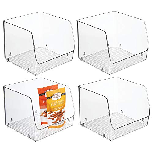 "Large Household Stackable Plastic Food Storage Organizer Bin Basket with Wide Open Front for Kitchen Cabinets, Pantry, Offices, Closets, Bedrooms, Bathrooms - Cube - 7.75"" Wide, 4 Pack - Clear"