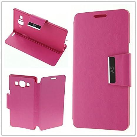 MISEMIYA - Funda Samsung Galaxy A5 (A500F) Libro Agenda Soporte - Fucsia