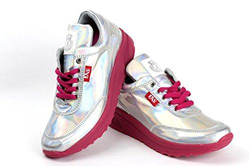 Damen Mode Komfort Schnürer Turnschuhe Flache Schuhe Sneakers Fitnessstudio Fitness Pumps - Silber/glänzend, EU 36
