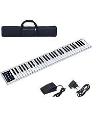 COSTWAY Digitales Piano Keyboard 61 Tasten,tragbares elektronisches Musikinstrument, MIDI Bluetooth, Bedienfeld, Leichtgewicht, Musikgeschenke für Kinder und Anfänger, mit Tragetasche, weiß