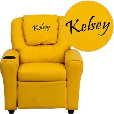 Personalized Kids Recliner Upholstery Type - Color: Vinyl - Yellow