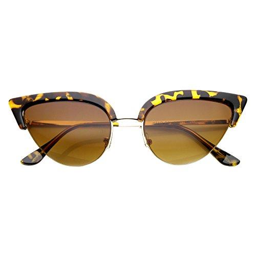zeroUV - Womens Semi-Rimless Cateye Bottom Cut Sunglasses (Tortoise Amber)