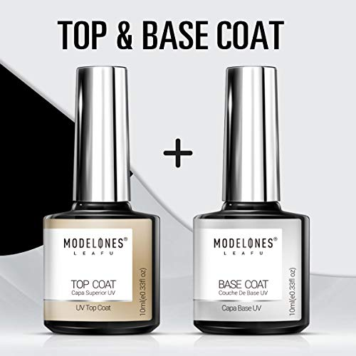 Modelones Gel Nail Polish No Wipe Top and Base Coat Set(2x10ml)UV LED Soak Off New Upgraded Formula Long-Lasting and Shiny Finish ... (Cnd Gel Base And Top Coat)