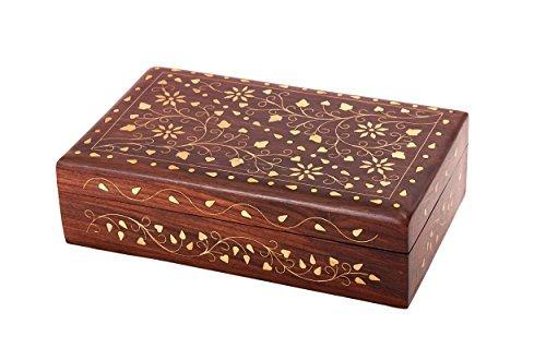 Diwali Gifts Gorgeous Wooden Keepsake Jewellery Trinket Storage Box Organiser with Floral Brass Inlay & Velvet Interior by Store Indya by Store Indya