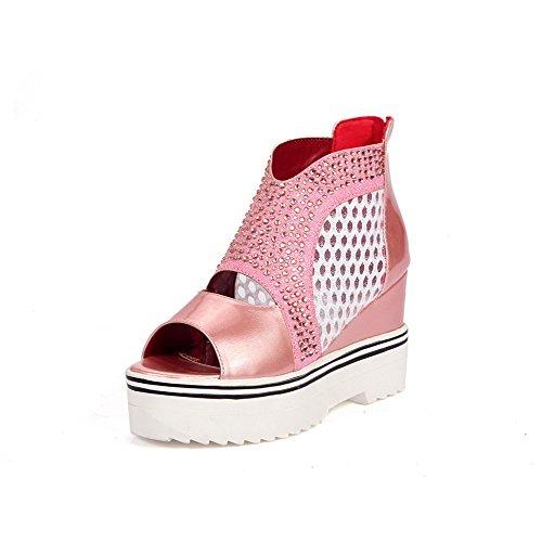 VogueZone009 Women's Solid Open Toe High Heels Zipper Sandals Pink AfOG0kw3