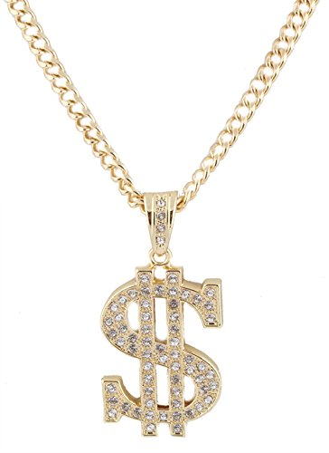 JOTW Metallic Goldtone with Clear Iced Out Dollar Sign Pendant with a 36 Inch Cuban Chain Necklace (C-787) ()
