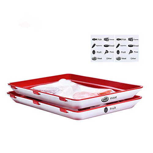 Food Tray Zero Waste Food Storage Containers Flat Reusable Freezer Food Preservation Tray Space Food Savers, Keeper Freezer Meal Trays Fresh, Meat,cheese,cold Cut(2 Pcs Trays And 16 Pcs Food Label)