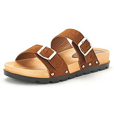 DREAM PAIRS ABI Women's Summer Open Toe Double Buckle Strap Fashion Design Slide On Flat Gladiator Sandals Brown Size 5