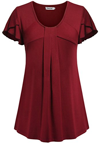 business-blouse-for-women-for-worktencole-short-sleeve-tunic-trendy-tshirts-red