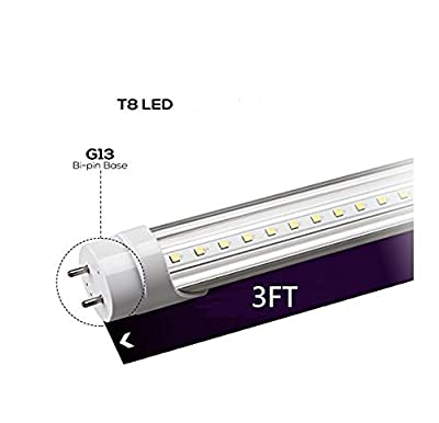 "T8 LED light tube is 3FT 36 "" 14w 72pc LED 3000K white 2000 lumen LED Transparent shell UL DLC plug 2 surface connections 50.000 hours 5 years warranty Energy saving"