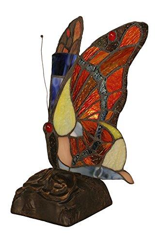 Toltec Lighting 1704 Tiffany Butterfly Lampshade with Dark Granite Finish Base, Purple Edge Copper