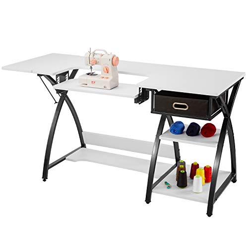 Sewing Table Adjustable Sewing Craft Table with Drawer and Shelves, Sturdy Sewing Desk Multipurpose Computer Desk,57.1×23.6×29.9 inches White