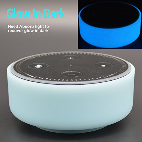 Silicone Case for Amazon Echo Dot by Auchee - Glow In Dark Night Light Dress Up Macaroon Cover Case fits Echo Dot 2nd Generation only (Noctilucent Macaroon Blue)