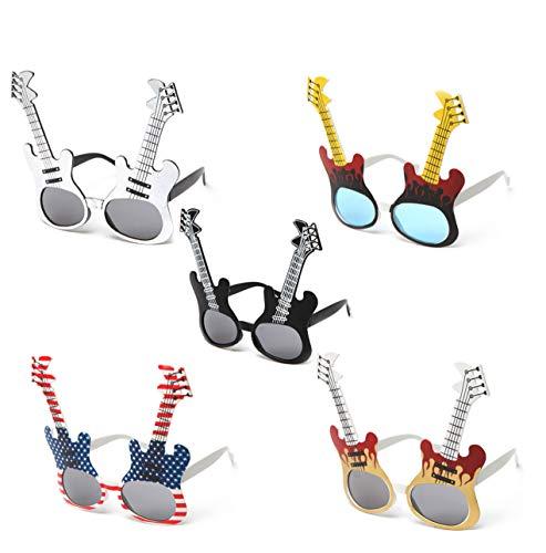 Newbee Fashin Party Fun Props Unique Guitar Design Festival Sunglasses -