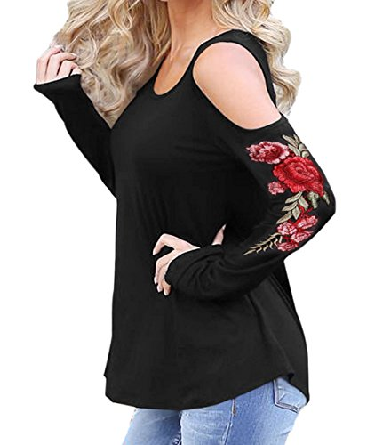 Womens Casual Cold Shoulder Rose Embroidered T-Shirt Long Sleeve Loose Blouse Tops