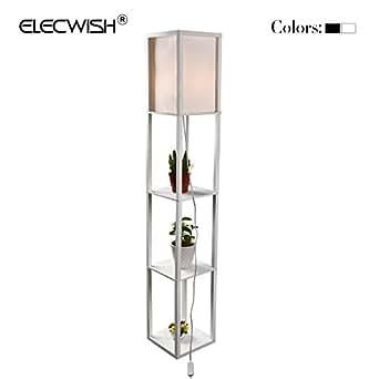 elecwish shelf floor lamp with linen shade ul listed. Black Bedroom Furniture Sets. Home Design Ideas