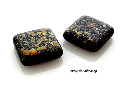 5 Designer Czech Glass 18mm Tile Square Black Brown Speckled Specialty Beads