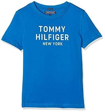 Tommy Hilfiger Boys' Organic Cotton Logo T-Shirt Highlights, Strong Blue, 8 Years