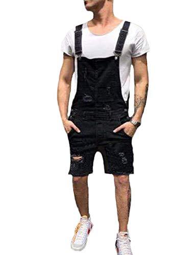 - BAOSHI1 Mens Denim Distressed Bib Jumpsuits Overalls Romper for Carpenter Moto Biker Coveralls (US S = Asian L Tag, Black-Short)