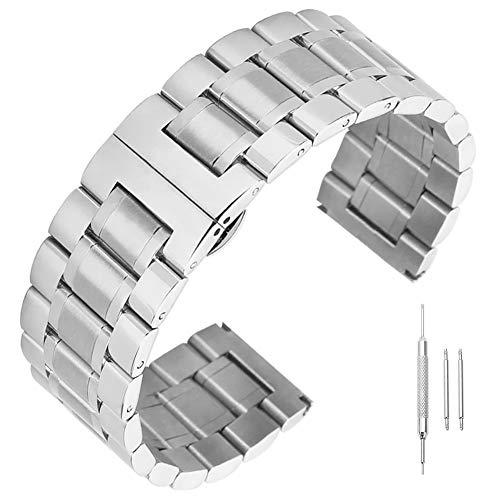 14mm 16mm 17mm 18mm 19mm 21mm 22mm 23mm 24mm Stainless Steel Watch Band Men Wrist Premium Strap Silver Belt Wrist Unisex Watch