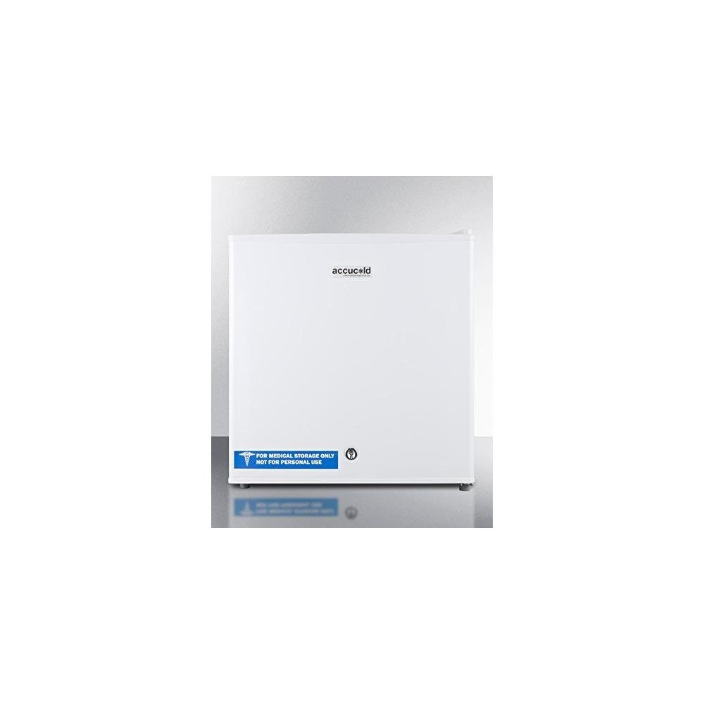 """Summit AccuCold FS24L 19"""" Upright Freezer with 1.4 cu. ft. Capacity, Factory Installed Lock, Manual Defrost, Removable Shelf Removable Shelf and Adjustable Thermostat, in White"""