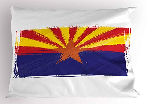 Ambesonne Arizona Pillow Sham, Grunge Design State Flag with Star, Decorative Standard Size Printed Pillowcase, 26