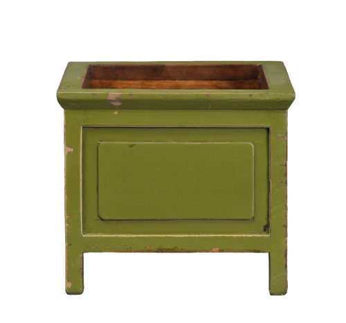 Antique Square Planter (Antique Revival Wooden Distressed Square Planter, Green Finish)