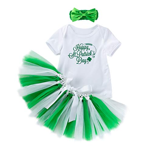 Amberetech ST. Patrick's Day Dress Romper Outfits Baby Girls Clothing Sets Cotton Infant Irish Party Costume Shamrocks Short Sleeve Jumpsuit Skirt Suits(XS(0-3months), Happy -