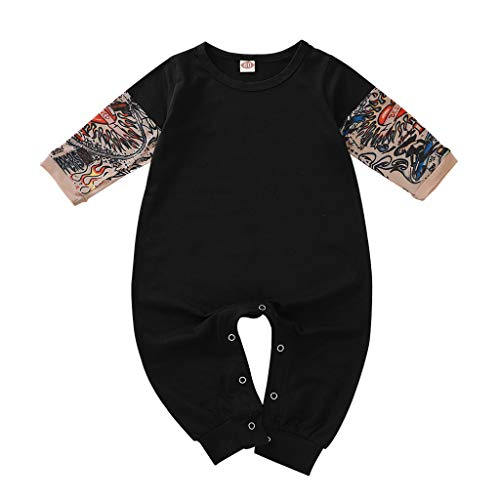 Gallity Toddler Baby Boy Girl Jumpsuit Tattoo Sleeve One-Piece Romper Bodysuit Halloween Outfit Costume Gift 3-24M (6-9 Months, Black)