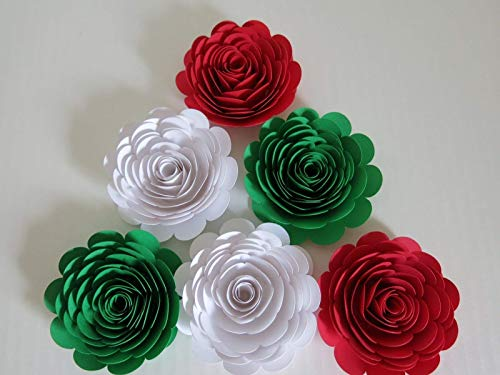 (Red, White & Green Mexican Color Roses, 3 Inch Paper Flowers, Set of 6 Wedding Flowers, Bridal Shower Decor, Italy/Italian Theme Tea Party Decorations)
