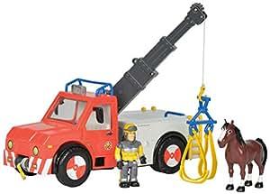 Smoby Simba–109258280002–Sam el bombero–Camión grúa–Luces y Sonidos–2figuras incluidas
