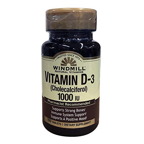 - Windmill Natural Vitamins Vitamin D-3 Cholecalciferol 1000IU Dietary Supplements 100 Tablets (Pack of 4)